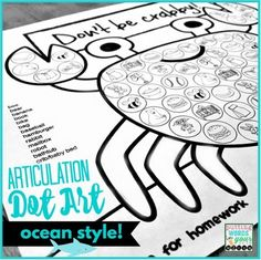 Get ton of productions in speech therapy with Articulation Dot Art ~ Ocean style!  {all sounds and NO PREP}