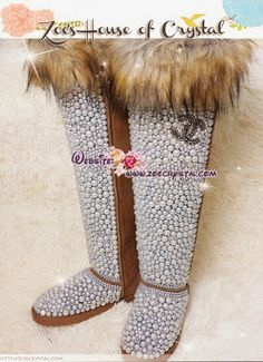 PROMOTION WINTER Knee Hight Bling and Sparkly Brown Fur SheepSkin Wool BOOTS w elegant Pearls and Chanel - ZoeCrystal