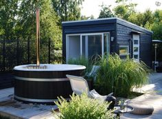 Poolhus Outdoor Sauna, Outdoor Baths, Hygge, Small Summer House, Outdoor Spaces, Outdoor Living, Sauna House, Summer Cabins, Gardens