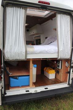 Van Conversion Interior, Camper Van Conversion Diy, Van Conversion Curtains, Campervan Hire, Campervan Interior, Rideaux Camping-car, Campervan Curtains, Campervan Storage Ideas, Camper Beds
