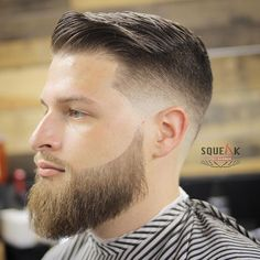 squeakprobarber traditional combover fade haircut with beard