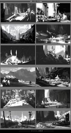ArtStation - Black and white light, G liulian Environment Sketch, Environment Painting, Environment Design, Design Visual, Bg Design, Digital Painting Tutorials, Digital Art Tutorial, Digital Paintings, Drawing Tutorials