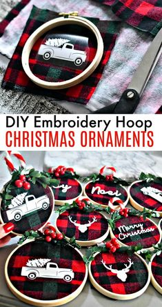 """Simple DIY Christmas Gifts Holiday Decoration Ideas""""},""""story_pin_data_id"""":null,""""type"""":""""pin These beautiful and simple DIY embroidery hoop Christmas ornaments are so darned fun. Make these at a fun craft night with friends! Diy Christmas Ornaments, Christmas Projects, Holiday Crafts, Snowman Ornaments, Diy Gift Ideas For Christmas, Christmas Crafts To Sell Handmade Gifts, Buffalo Plaid Christmas Ornaments, Cricut Christmas Ideas, Diy Christmas Decorations"""