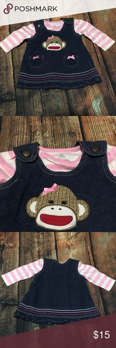Sock Monkey Jumper Dress & Shirt 3 Mo. Baby Starters 2 pc dress set girl's 3 months shirt is pink and white stripes dress is a blue jumper dress with a sock monkey face on front Baby Starters Dresses Casual