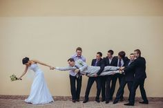 I love this! Even if you don't have groomsmen, you could do something similar with the grooms male friends. Hilarious!