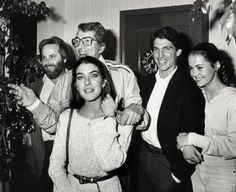 Dean Martin with his then son-in-law, Carl Wilson (Beach Boys), in front of Dean is his daughter Gina (2nd wife of Carl Wilson), Stephen is next to Dean (his oldest son) and Stephen's wife on far right 1987.