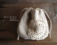 Linen & crochet doily drawstring pouch. idea only