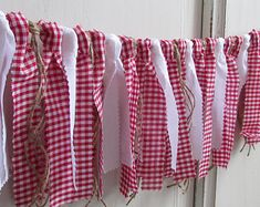 Items similar to Red and White Gingham Banner Gingham Rag Tie Garland Picnic Fabric Banner Picnic Decor Picnic Birthday Backyard BBQ County Fair Photo Prop on Etsy Fabric Strip Banner, Bbq Party Decorations, Western Decorations, Christmas Fireplace Mantels, Baby Q Shower, Bridal Shower, Picnic Birthday, Country Birthday, Outdoor Birthday