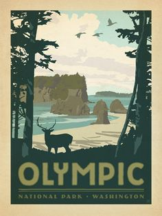 Olympic National Park - Anderson Design Group has created an award-winning series of classic travel posters that celebrates the history and charm of America's greatest cities and national parks. Founder Joel Anderson directs a team of talented Nashville-based artists to keep the collection growing. This print celebrates the majestic grandeur of Olympic National Park's coastline.