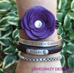 Leather Bracelet, womens bracelet, leather cuff, leather flowers by LoveCrazyDesigns on Etsy https://www.etsy.com/listing/462531927/leather-bracelet-womens-bracelet-leather