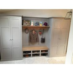 Built in cupboards Charleston Gray and walls Skimming Stone, by Farrow and Ball.