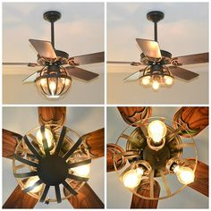 DIY Industrial Ceiling Fan [With Garden Planter Cage Lights] - Upcycled Ugly Farmhouse Pendant Lighting, Industrial Ceiling Lights, Vintage Industrial Lighting, Drop Ceiling Panels, Drop Ceiling Lighting, Ceiling Fan Makeover, Cage Light, Diy Fan, Outdoor Ceiling Fans