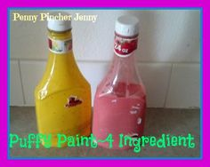Puffy Paint made From Four Pantry Ingredients!! Easy Enough for the Kids to Make and a Great Sensory Play!