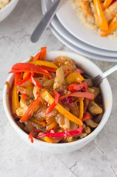 Use Quinoa instead of rice in this Healthy 10 minute chicken breast stir-fry loaded with sweet red and yellow peppers and lots of flavor