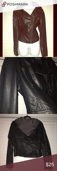 """Faux Leather Jacket with Hood Really cute faux leather jacket with a removable dark grey hood. Worn once. 19"""" wide 21"""" long. Plus size XL Forever 21 Jackets & Coats"""