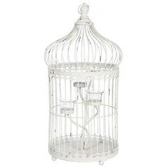 Cage métal blanc photophore 29x57,5cm