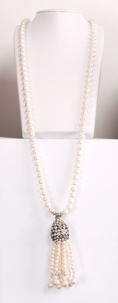 Vintage Paolo Naia Pearl necklace with pearl tassel pendant.