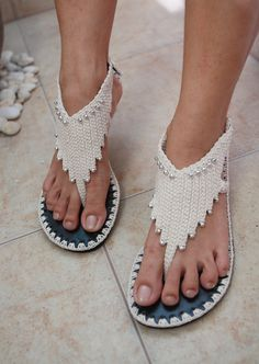 These sandals are so cute with unique design, great with shorts, jeans, skirts or even on your perfect dress on your special day. Handmade crochet is
