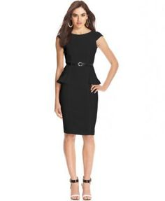 Go from day to dinner in Xoxo's belted sheath dress, featuring cap sleeves and a flattering peplum design. | Rayon/nylon/spandex | Hand Wash | Imported | Crew neckline | Back zipper closure | Cap slee