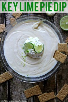 Five Minute, Two Ingredient, Key Lime Pie Dip: 1 cup Key Lime Juice (you can use plain lime juice too) and 2 small (14 oz) cans of sweetened condensed milk.... mix together, chill for at least an hour, top with whip cream if desired. Serve with graham crackers or cookies.