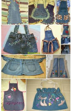 Old Jeans, Aprons, Women's Fashion, Couture, Sewing, How To Make, Jackets, Recycling, Disney Crafts