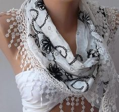 Black  White / Elegance Shawl / Scarf  with Lace Edge by womann, $16.90  I dig the whole ensemble.