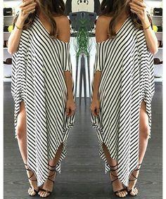 Casual Short Sleeve Striped Asymmetric Dress Casual One Shoulder Stripe Dress Short Sleeves Size XL