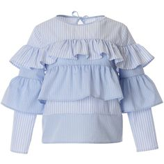 Vjera Vilicnik - Bella Top (377 AUD) ❤ liked on Polyvore featuring tops, blouses, blue ruffle shirt, blue stripe shirt, ruffle blouse, shirt blouse and cotton blouse