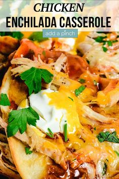 This Chicken Enchilada Casserole recipe makes a quick, easy comforting meal! Layers of crispy tortillas, enchilada sauce, chicken make this a favorite! Walnut Chicken Recipe, Best Chicken Recipes, Chicken Salad Recipes, Recipes With Enchilada Sauce, Chicken Enchilada Casserole, Chicken Enchiladas, Fun Easy Recipes, Popular Recipes, Quick Easy Meals