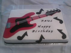 Cake, Birthday, Guitar, Red & Black Fondant Decor, half sheet....by It's Our Creations