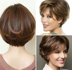 Gorgeous cut for anyone who likes short hair Lindos corte para quem gosta de cabelo curto Gorgeous cut for anyone who likes short hair Short Hair Styles For Round Faces, Short Hair With Layers, Short Hair Cuts For Women, Medium Hair Styles, Curly Hair Styles, Haircut For Thick Hair, Cute Hairstyles For Short Hair, Diy Hairstyles, Short Bob Haircuts