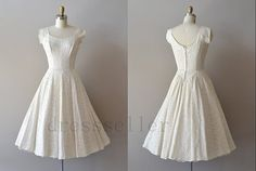 Custom Vintage 50s Poland Style Scoop Neck Short Sleeves Tea Length Lace Ivory Wedding Dresses A Line Wedding Gowns on Etsy, $160.00