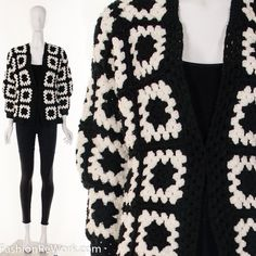 Hey, I found this really awesome Etsy listing at https://www.etsy.com/listing/490550810/60s-black-white-crochet-granny-square