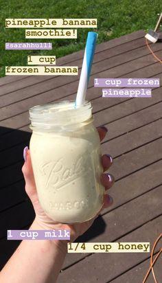smoothie recipes banana pineapple healthy tasty healthyrecipes is part of Healthy snacks recipes - Fruit Smoothie Recipes, Yummy Smoothies, Smoothie Drinks, Breakfast Smoothies, Snack Recipes, Diet Drinks, Healthy Recipes, Lunch Smoothie, Breakfast Fruit