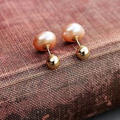 Fruity peach pearls with gold filled balls screw in back earrings are back.😀💝