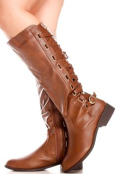 Brown faux leather knee high boots with back lace,side zipper look.