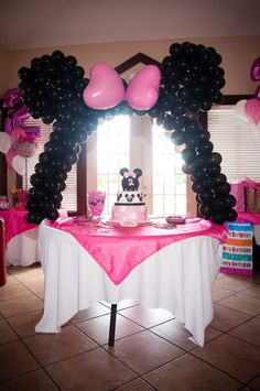 Minnie balloon arch...it's not just for 2 year olds.  :)
