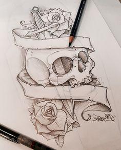 ref - art and sketching tattoo drawings Badass Drawings, Dark Art Drawings, Pencil Art Drawings, Art Drawings Sketches, Tattoo Sketches, Cute Drawings, Skull Drawings, Tattoo Design Drawings, Skull Tattoo Design