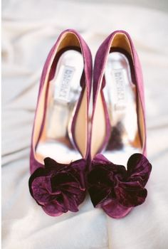 Pretty burgundy velour heels.  Photo by Taylor Lord Photography. www.wedsociety.com  #wedding #shoes