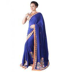 Buy designer crepe #saree collection online at sairandhri.com For information contact us at +919300066411