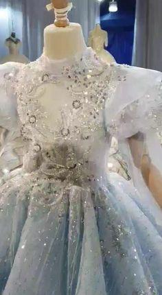 Vintage Light Blue Little Girls Princess Dress Ball Gowns KD1002
