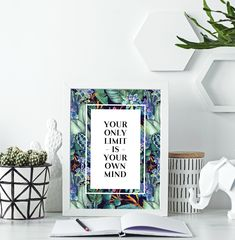 Office Art Printable, Motivational Poster, Maximalist Home Decor Office Art, Office Decor, Wall Prints, Poster Prints, Turquoise Wall Art, Printable Art, Printables, Floral Quotes, Blue Artwork