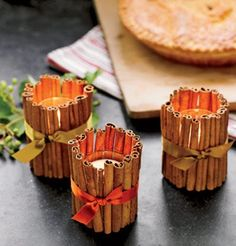 Cinnamon stick candle holders - Apple votive - combine this with homemade apple votives and your kids can help create a great Thanksgiving day table