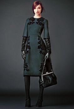 dolce and gabbana teal midi wool winter lace dress modest midi dress with sleeves stylish beautiful fashion Mode-sty