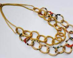 2 way Chain Necklace hecho con Kimono antiguo Azul por NufDesign