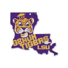 LSU Tigers Throwback Mascot State Hardboard Wood Sign