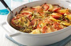 Ovenschotel van aardappel, tomaat en prei