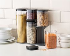 The ultimate storage solution for dried food, this clever set lets you store neatly on the countertop and access each airtight container with ease.