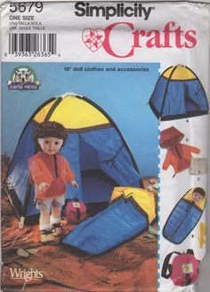 Items similar to Simplicity 5679 American Girl 18 Inch Doll Sewing Pattern Camping Tent Jacket Shorts Sleeping bag backpack Too cute OOP on Etsy Doll Sewing Patterns, Simplicity Sewing Patterns, Doll Clothes Patterns, Vintage Sewing Patterns, Sewing Ideas, Backpacking Sleeping Bag, Tent Fabric, Tent Camping, Camping Gear