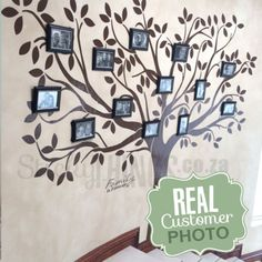 www.stickythings.co.za Our Family Tree Wall Art Decal stands 2.2m tall and is designed for you to add your family photos on the branches. Free delivery in RSA plus free gifts. #stickythingswallstickers